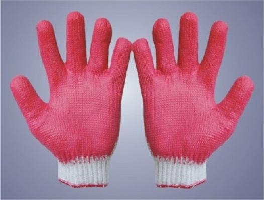 Găng tay sợi tráng nhựa loại mỏng, mầu đỏ