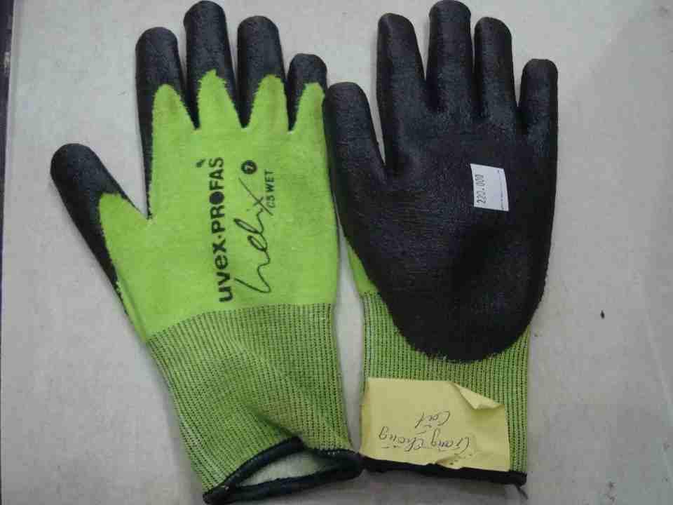 Găng tay sợi chống cắt, hóa chất mầu xanh