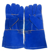Găng tay da hàn chịu nhiệt mầu xanh