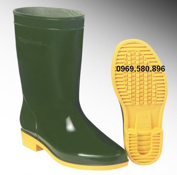 Ủng bảo hộ lao động Thùy Dương mầu xanh rêu - vàng