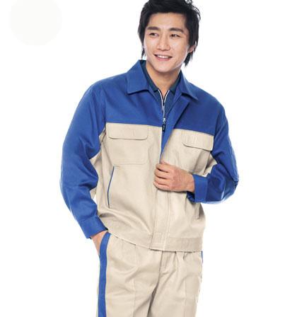 Quần áo kỹ sư túi hộp phối màu xanh trắng