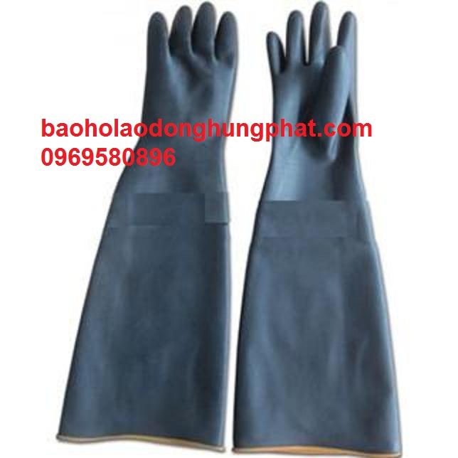 Găng tay chống axit màu đen  dài 56 cm - xuất xứ trung quốc