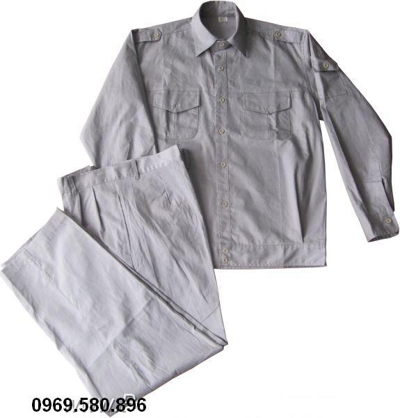 Quần áo kaki bảo hộ lao động mầu ghi